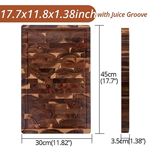 EXTRA LARGE Junta de corte, el extremo rectangular del grano del bloque de carnicero, tablas de cortar de cocina, de madera de acacia, de 18 x 12 x 1,4 pulgadas (Color : 44x30cm with Groove)