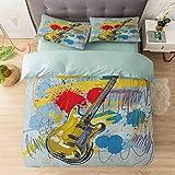 Juego de funda de edredón y funda de almohada, diseño expresionista de instrumentos musicales abstractos, color amarillo