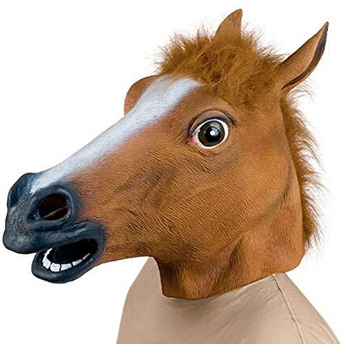 Demarkt Pferdemaske Pferde Kostüm Maske Latex Tiermaske Pferdekopf Erwachsene Pferd Maske für Halloween Party (Braun)