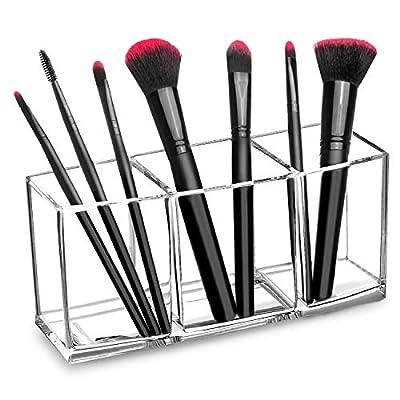 hblife Makeup Brush Holder Organizer, 3 Slot Acrylic Cosmetics Brushes Storage Solution