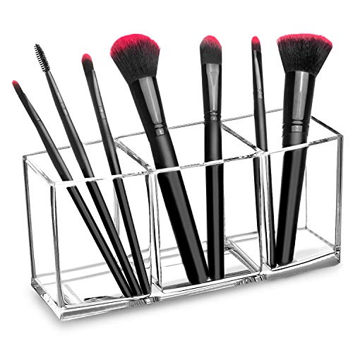 hblife Clear Makeup Brush Holder Organizer, 3 Slot Acrylic Cosmetics Brushes Storage Solution, Clear A
