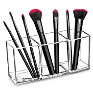 hblife Clear Makeup Brush Holder Organizer, 3 Slot Acrylic Cosmetics Brushes Storage Solution,Pattern A