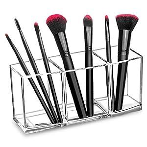 Beauty Shopping hblife Clear Makeup Brush Holder Organizer, 3 Slot Acrylic Cosmetics Brushes Storage