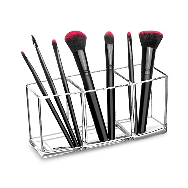 Beauty Shopping hblife Clear Makeup Brush Holder Organizer, 3 Slot Acrylic Cosmetics Brushes Storage