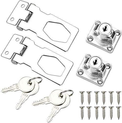 LOKIH 2 Pack Keyed Locking Hasp Lock with 4 Keys Shed Lock for Locking Shed Doors Furniture Cabinet Boxes