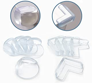 20 Packs Baby Safety Furniture Corner Guards/Edge Protectors/Anti-Collison Cushion Rubber Protection High Resistant Adhesive Gel   Best Baby Proof Corner Guards Stop Child/L-Shaped & Ball-Shaped