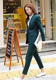 パンツスーツレディース 結婚式2枚セットアップ長袖テーラードジャケット+七分丈パンツ袖ありパンツドレス上下セットツーピース無地 大きいサイズ 26533