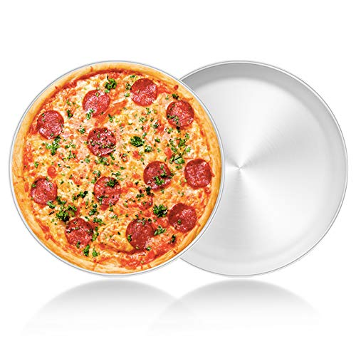 13½ inch Pizza Pan Set of 2, Yododo Stainless Steel Pizza Tray, Round Pizza Dish Plate For Oven Baking, Healthy & Heavy Duty, Rust Free & Dishwasher Safe