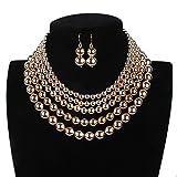 Conjunto de joyería JIAG, conjunto de collar y pendientes de varias capas de metal para mujer, Aleación, dorado, Tamaño libre