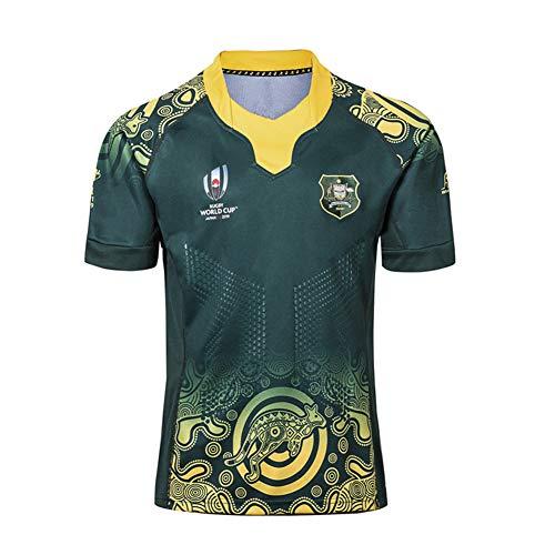 2019 Weltmeisterschaft Rugby Jersey,Rugby-Trikot Australian Home/Away für Männer Kurzarm-Freizeit-T-Shirt-Trainingsanzüge bequem und atmungsaktiv-Green-S