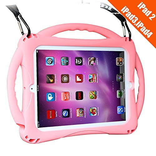 TopEsct Kids Case for ipad 2 3 4, Shockproof Handle Stand Case with Pencil Holder Compatible with Apple iPad 2,iPad 3,iPad 4(iPad 2/3/4, Pink)
