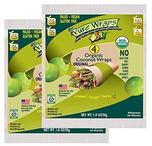 Pure Wraps Certified ORGANIC Paleo Gluten Free Vegan Coconut Wraps, 4 Wraps, 1.8 oz (2 Pack) (2 pack)