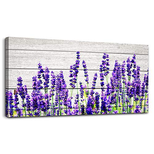 Wood grain lavender Wall Art for Living Room Canvas Prints Artwork wall decor Bedroom Works inspiration Mural Art Framed Hotel Home Decor posters Purple flowers watercolor wall Painting 24 x 48 inch