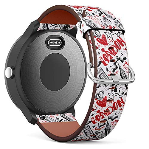 Replacement Leather Strap Printing Wristbands Compatible with Garmin Vivoactive 3 / Vivoactive 3 Music/Vivomove - London, Vector Seamless Pattern