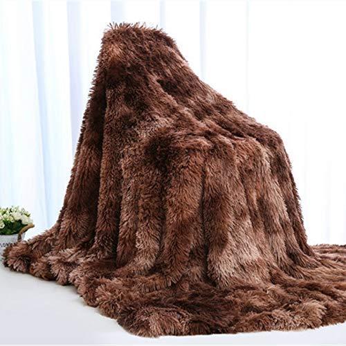 SUN DANCE Manta de pelo sintético teñido anudado, manta reversible de pelo largo, color café, peludo, ligera, de felpa, mantas decorativas para sofá, cama, decoración de dormitorio, 129,5 x 167,6 cm