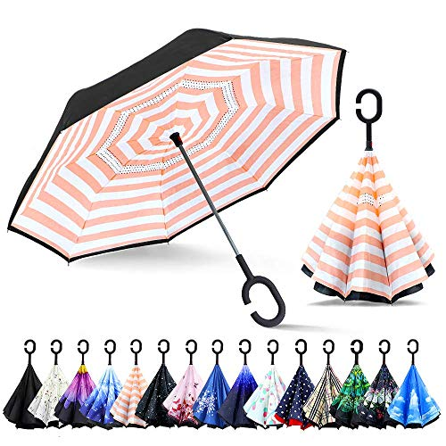 ZOMAKE Inverted Stockschirme, Innovative Schirme Double Layer, Winddicht Regenschirm, Freie Hand,Umgedrehter Regenschirm mit C Griff für Auto Outdoor (Rosa Streifen)