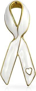 Bling Jewelry Open Heart Smalto Nastro Rosa Sostenere la Causa Cancro al Seno Sopravvissuto Spilla Pin per Donne Argento P...