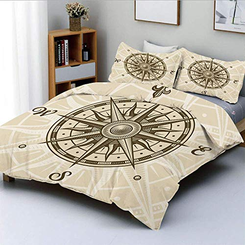 Duvet Cover Set,Sun Motifs Backdrop with Sepia Windrose Directions East West North South Navigation Decorative Decorative 3 Piece Bedding Set with 2 Pillow Sham,Sepia Tan,Best G