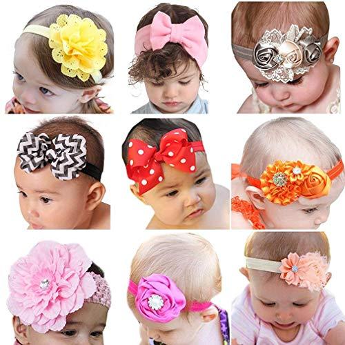 Z-Chen Pack de 9 Piezas Diademas Elásticas Cintas para el Pelo para Bebé Niña, SetC