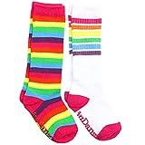 juDanzy Calcetines de tubo hasta la rodilla para niños, niñas, bebés, niños pequeños y niños (2-4 años, arcoíris brillante y rayas arcoíris brillantes)