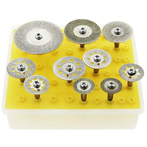 Yadianna Cutting Saw 10 pcs Diamond Saw Cut Off Discs Wheel Blades Rotary Tool Set 1/8 Shank for 16/18/22/25/30/40mm,A
