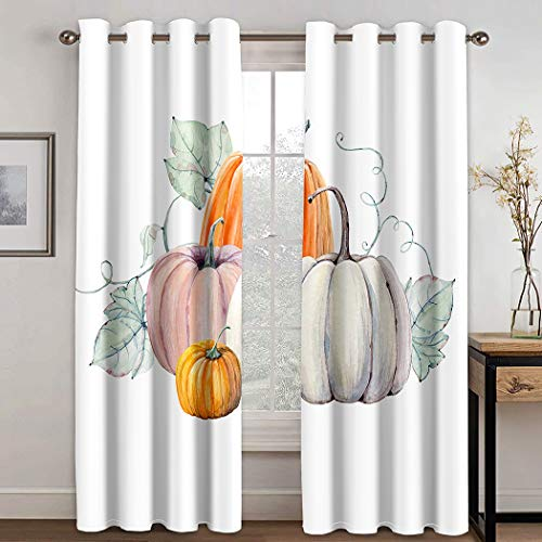 THE MINI CRUSH Man Curtains,Pumpkins Watercolor Painting White Colored Paper Autumn Thanksgiving Day,Soundproof Blackout Curtains for Bedroom Living Room Window Drapes 2 Panel Set,108X96 Inches