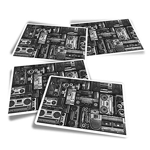 Pegatinas rectangulares de vinilo (juego de 4) – BW – Radios Cassette Player Retro Music Fun Calcomanías para ordenadores portátiles, tabletas, equipaje, reserva de chatarra #36180