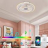 Ventilatore a soffitto a LED moderno con illuminazione, luci ventilatore a soffitto con telecomando, ventilatore invisibile con illuminazione, 3 colori modificabile, luce del ventilatore dimmerabile p