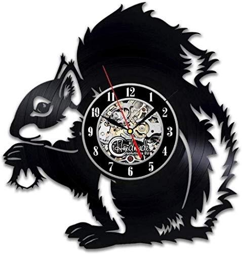 kkkjjj Bosque Animal Ardilla Vinilo Reloj de Pared Dormitorio de los niños jardín de Infantes decoración de guardería Regalos Hechos a Mano Vintage
