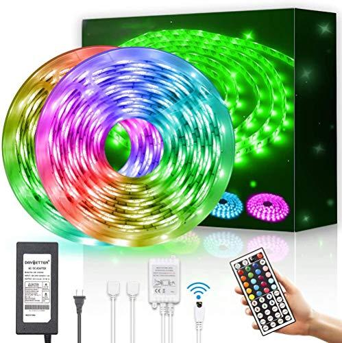 meimie00 Tira de Luces LED a Prueba de Agua 600leds 32.8ft 10m Cambio de Color Flexible RGB SMD 5050 con Control Remoto IR de 44 Teclas y Fuente de alimentación de 12V para el Dormitorio