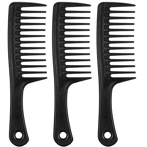 3 Pack Black Wide Tooth Comb Round-Handle Wide-Tooth Detangling Comb Paddle Hair Comb for Curly Hair Long Hair,Wet Hair,Detangling Comb Large