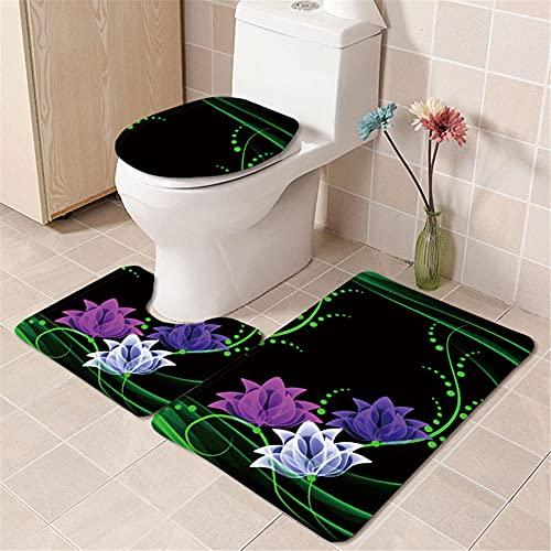 IRCATH Verde Azul púrpura Dibujos Animados patrón Floral Anti-desvanecimiento no Cae el Cabello alisado de Tres Piezas alisado de baño-C3 Alfombra de Baño de Espuma Viscoelástica Cómoda
