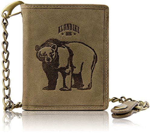 Klondike 1896 'Wayne Bear' Börse mit Kette aus echtem Leder hochwertiges Echtleder Portemonnaie, Limited Edition, Stone