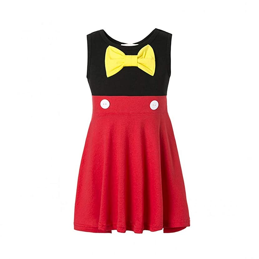 Girls Mickey Dress for Toddler Cotton Sleeveless Bow Red Dress Mickey Minnie Dresses