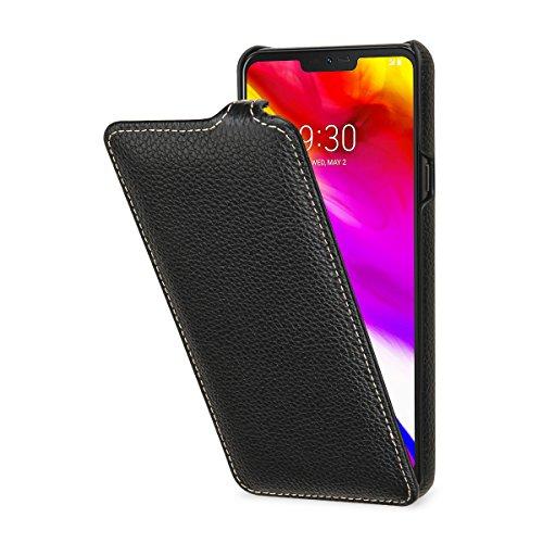 StilGut UltraSlim Lederhülle für LG G7 ThinQ. Dünnes Flip-Hülle vertikal klappbar aus Echtleder, Schwarz