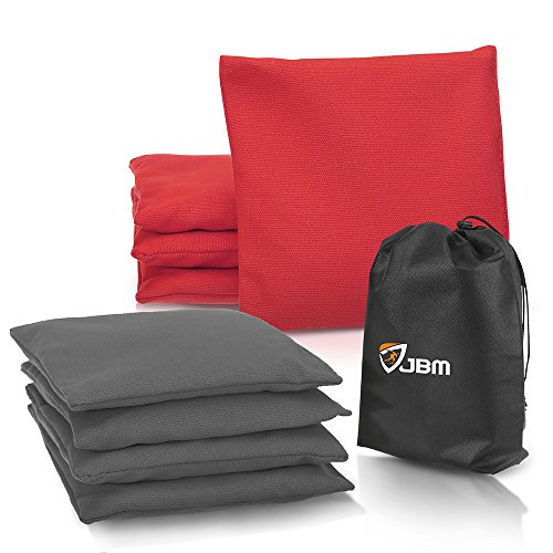JBM Cornhole Bag (Pack of 8) Weather Resistant Cornhole Bags with Recycled Plastic Pellets for Tossing Corn Hole Game - Free Carrying Bag Included (Red & Gray, 14OZ)