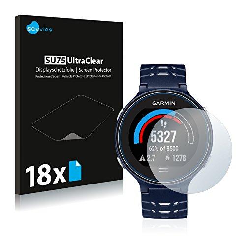 Savvies 18x Schutzfolie kompatibel mit Garmin Forerunner 630 Bildschirmschutz-Folie Ultra-transparent