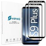 Svanee Protector de Pantalla para Samsung Galaxy S9+ Plus, [2 Piezas][ Cobertura completa 3D, Dureza 9H, Sin Burbujas, Soporte para identificación de huellas dactilares]