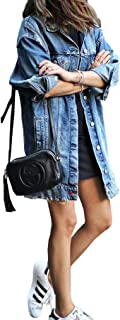 Women's Denim Jacket Ripped Distressed Casual Long Sleeve Plus Size Coat