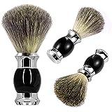 GRUTTI blaireau 100% pur blaireau cheveux poignée en métal brosse de rasage pour hommes (noir) pour rasage humide