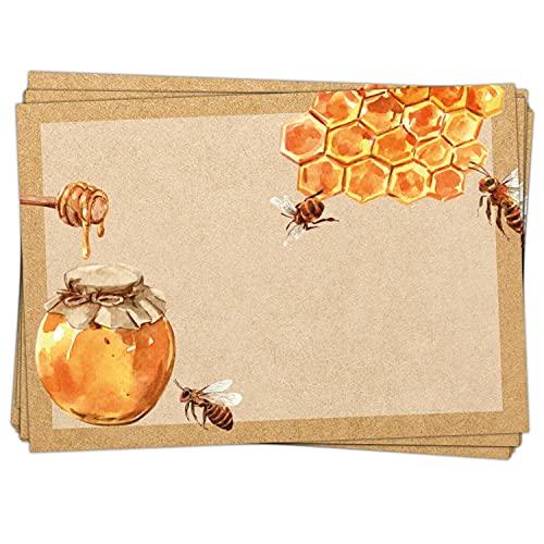 Logbuch-Verlag 25 Honigaufkleber 7,4 x 5,2 cm braun mit Bienen & Bienenwaben braun gold - Etikett Aufkleber für Honig & Honiggläser