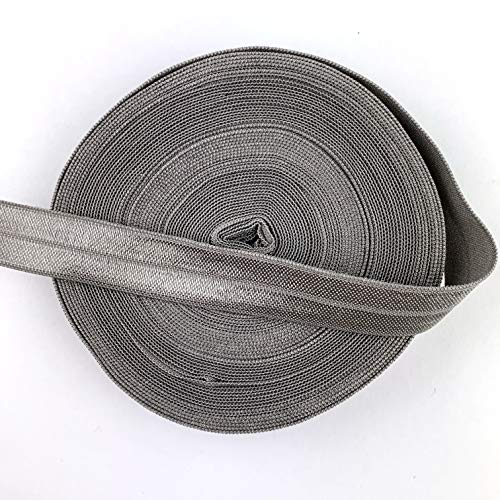 Worlds Fold Over Elastic for Hair Ties DIY Crafts,Baby Girl Head Bow 10 Yards 5/8'Inch (Metal Grey)
