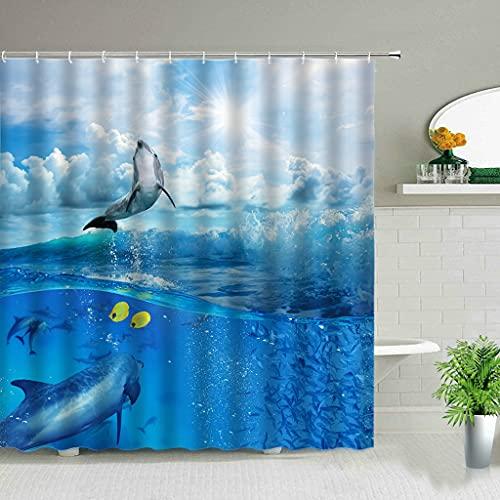 QWNHU DuschvorhangLustige Delphin-Duschvorhänge niedliches Tier ozeanblaue Wellenlandschaft Badezimmerdekoration Tuch hängender Vorhang mit Haken