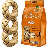 ICROKUS Natural Braided Rawhides for Dogs - Rawhide Dog Treats Digestible Braided Dog Chews Rings - Free Range Grass Fed Dog Treat Donut 5 inches Set of 3 Units Peanut Butter