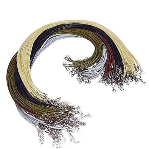 Magiin 100pcs Wax Geflochtene Imitation Lederkette Lederband Halskette Karabinerverschluss mit Verlängerungskette für DIY Handwerk Schmuckherstellung 5 20 Zoll
