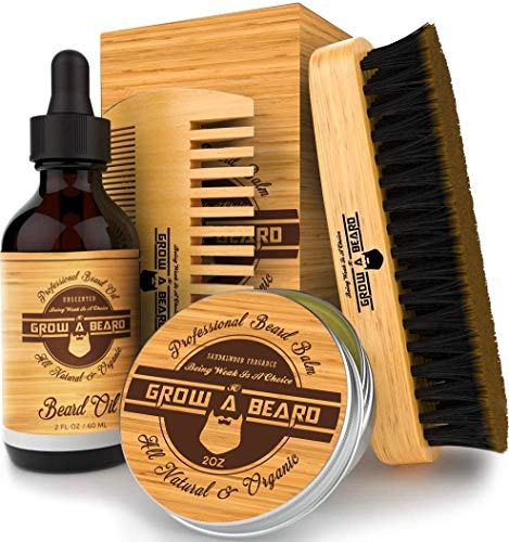 Beard Brush, Oil, Balm, & Comb Grooming Kit for Men's Care, Travel Bamboo Facial Hair Set for Growth, Styling, Shine & Softness, Great Christmas Gifts for Him - 2oz, Bamboo Color