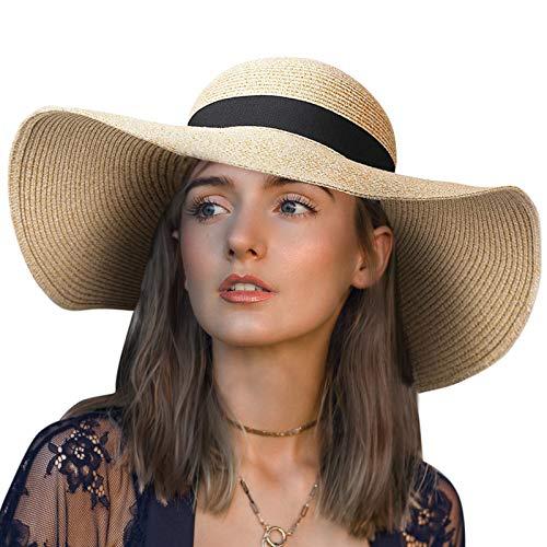 Chalier Summer Hats for Women, Floppy Wide Brim Sun Hat Womens Straw Hat with UV UPF 50+ Protection Straw Cap, Beige A