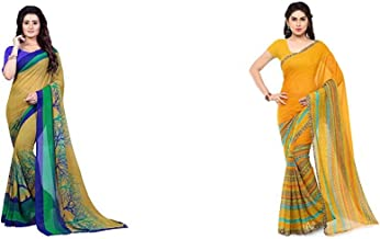 Anand Sarees Georgette Saree with Blouse Piece (1341_Multicolor_Free Size) + Anand Sarees Georgette Saree with Blouse Piec...