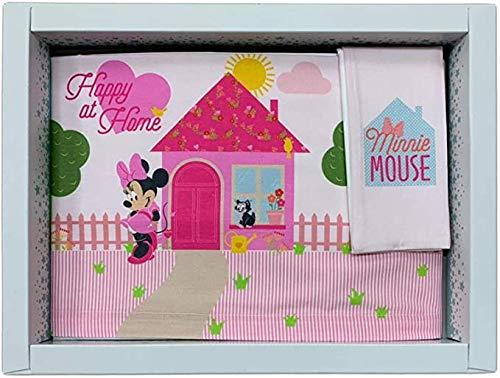 Juego de 3 sábanas con diseño de cochecito de bebé, 100 % algodón, juego de sábanas para cuna de bebé con funda de almohada | Sábanas para cuna de bebé (Happy Home)