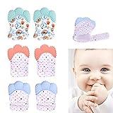 GOTONE 6PACK Guantes de dentición de silicona para bebés 3D Friendly Silicone Cute Mordedor de bebé